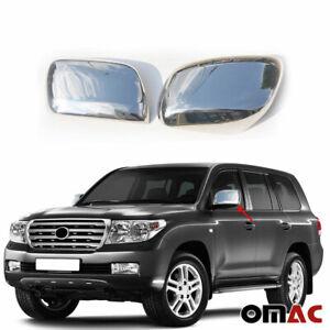 Fits Toyota Land Cruiser 2008-2021 Chrome Side Mirror Cover Cap 2 Pcs W/O Signal
