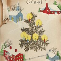 Vintage Mid Century Christmas Greeting Card Glitter Feather Tree Houses Candles