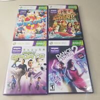 Kinect XBOX 360 Games Lot Of 4 Dance Central 2, Adventures, Wipeout, Sports