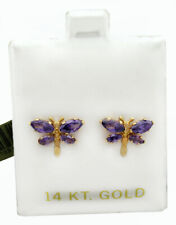 AMETHYST STUD DRAGONFLY EARRINGS 14K YELLOW GOLD * New With Tag