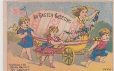 Trade Card Union Pacific Tea Easter Greeting 4 Girls & Wagon Egg Carriage
