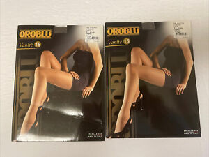 Oroblu Vanite 15 Den Pantyhose Large Color Graphit Brand New Lot Of 2