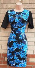 PRIMARK BLACK BLUE FLORAL ELEGANT BODYCON PENCIL TUBE LYCRA FEEL TEA DRESS 8 S