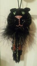 NWT! A Special Place Black Halloween Cat Blingy tassles Decor Ornament Feathers