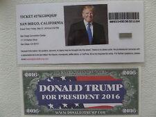 DONALD TRUMP RALLY 5-27-2016, EVENT ENTRY TICKET, SAN DIEGO, CA. + TRUMP $$$