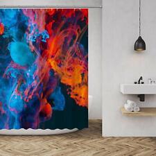 Nice! Blue Orange Abstract Smoke Gorgeous Waterproof Fabric Shower Curtain