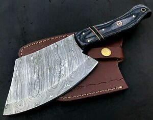 Handmade Axe Damascus Steel Viking Axe-Camping-Outdoors-Leather Sheath-MD142