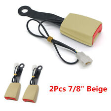 "Beige 2Pcs 7/8"" Car Safety Seat Belt Buckle Socket Plug Connector+Warning Cable"