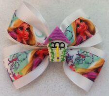 """Girls Hair Bow 4"""" Wide Rapunzel Tangled Ribbon White Grosgrain Alligator Clip"""