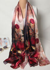 "100% Silk Satin Women Scarf 67x20"" long Shawl Wrap pink red black large S148-015"