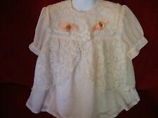 Girls 90's Vintage Victorian Look Thick Lace Off White Dress Made in Greece Sz 4
