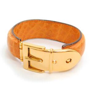 GUCCI Gold Plated Leather Camel Belt motif Bracelet Bangle #300f Rise-on