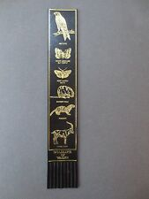 BOOKMARK LEATHER WALES Welsh Wildlife Red Kite Polecat Feral Goat Vole Black