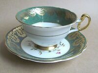 FOLEY E. BRAIN 4396S PATTERN FOOTED GREEN/GILT & FLORAL CUP & SAUCER  (Ref5345)