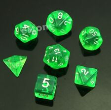 7-Dice Sided D6 D4 D8 D10 D12 D20 Magic-the-Gathering D&D RPG Poly Game Set GN