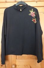 Ladies Black Long Sleeve Hi Neck Embroidered Sweat Top Size 16  M&S COLLECTION