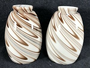 """Set of 2 Brown White Swirl Replacement Glass Pendant Lamp Shades 2"""" Fitter EUC"""