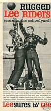 1959 Print Ad of Rugged Lee Riders Cowboy Jeans Schoolyard Basketball