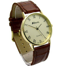 Ravel Mens Classic Quartz Watch Brown Band Gold Face I-XII R0129.12.1