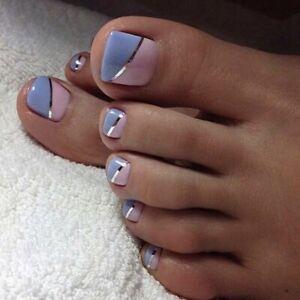 24Pcs Summer Simple Fake Nails With Designs Short Full Artificial Toenails Tips