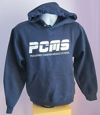 VTG Mens JERZEES PCMS Navy Polycotton Hooded Sweatshirt Size Small