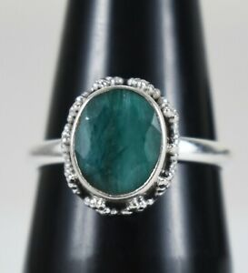 925 Sterling Silver Emerald Sz 2-14 Oval Handmade Wedding Ring Women Gift RS1447