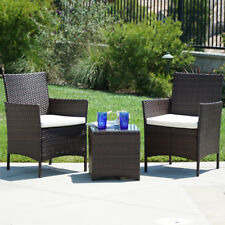 Outdoor Patio Furniture Wicker 3pc Bistro Set Glass Top Table 2 Chairs,  Brown