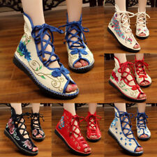 Women Chinese Embroidered Flat Shoes Mary Cotton Floral Handmade Sandals slipper