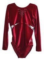NWT GK Elite Gymnastics Long Sleeve Leotard Burgundy Red Velvet Adult Medium AM