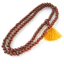 "Beautiful Tibetan 108 6mm Rosewood Prayer Beads Mala Necklace -24"" Golden Tassel"