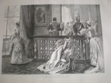 A Drawing room at Buckingham Palace waiting in the pen 1890 old print