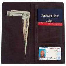 Brown Solid Genuine Leather Passport Wallet, Men or Womens Travel ID Card Cover