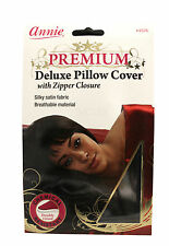 ANNIE DELUXE SATIN PILLOW CASE COVER ZIPPER CLOSURE DOUBLE-LINED BLACK (#4576)