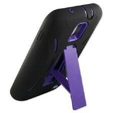 T-Mobile Samsung Galaxy S II 2 Impact Hard Rubber Case + Kick Stand Black Purple