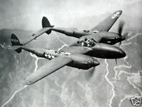 B&W WWII Photo P-38 Lightning in Flight  WW2 World War Two USAAF Air Force