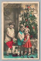 Cute Christmas Tree Kids RPPC Antique POLAND Dolls Toy Horse—Handcolored Photo