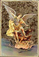 """St. Saint. Michael the Archangel & Prayer - Gold Foil Mosaic Plaque (4"""" x 6"""")"""