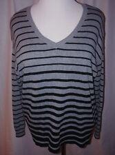 LANE BRYANT Pull Over V- Neck Gray/Black Striped Sweater  - Women's 14/16