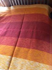 Large Moroccan Hand Woven Striped Sabra Silk / Chenille Throw Blanket orange