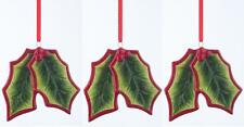 Set of 3 Ceramic Holly Berry Ivy Christmas Hanging Decorations