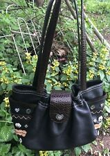 BRIGHTON Butterflies Flowers Buttons Medium LEATHER HandBag Purse Satchel tote *