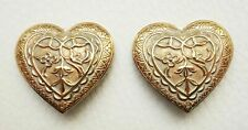Boucle d'oreille clips vintage art nouveau coeur signé Pierre Bex Earrings HEART