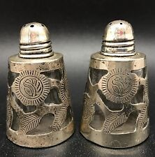 Charming Sterling Silver 925 Salt & Pepper Shakers, Mexico (RF613)