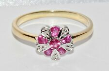 9ct Yellow Gold & Silver Ruby & Diamond Ladies Cluster Ring - size O