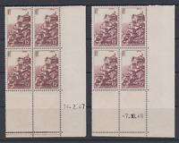 FRANCE 2 BLOCS DE 4 COIN DATE CD 1946 ET 1947 YT 763 ROCAMADOUR N** MNH COTE 60€