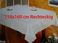 110x160 cm Rechteckig Tischdecke Weiß TISCHDECKE SCHUTZDECKE Blumenmuster Vinyl