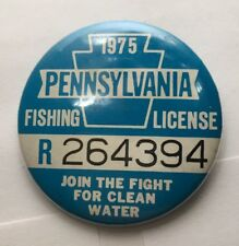 1975 Pennsylvania Pa State Residents Fishing License Pin Button Fish Trout Bass