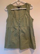 Lucky Brand Women's 100% Cotton Green Ostrich 3/4 Button Sleeveless Top Sz Lg