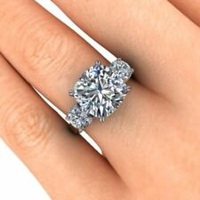 3.25ct Cushion Cut White Three Diamond Engagement Wedding Ring in 14K White Gold