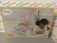 George Home Girls Wooden princess castle Dolls House White/Pink 3 Floors New Box
